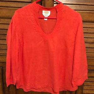 Talbots Red Linen Top - Size Large